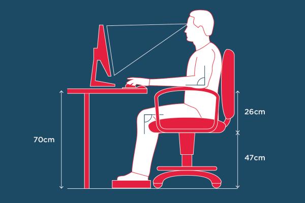 altura ideal da mesa para escritório